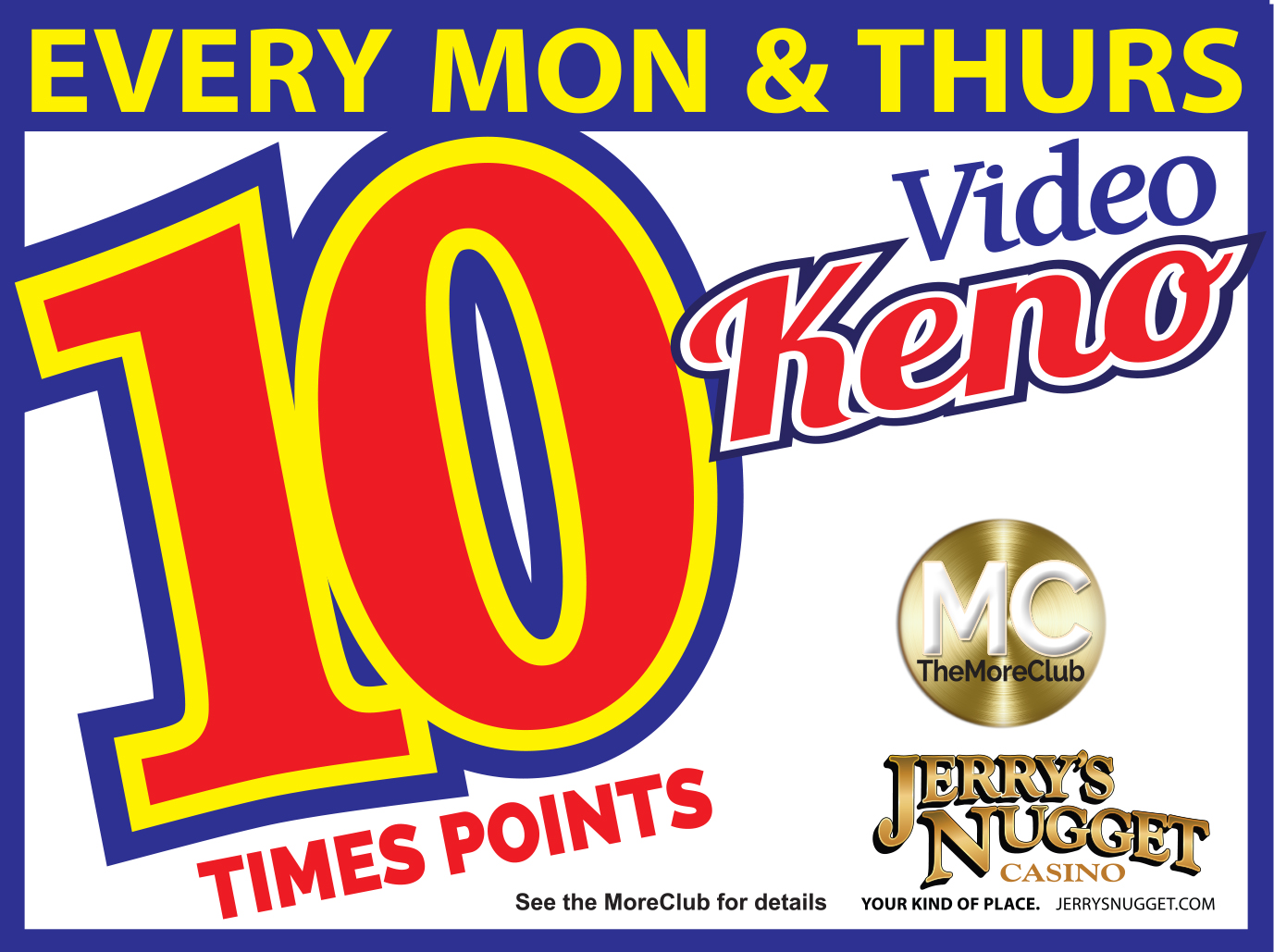 10x Points on Video Keno