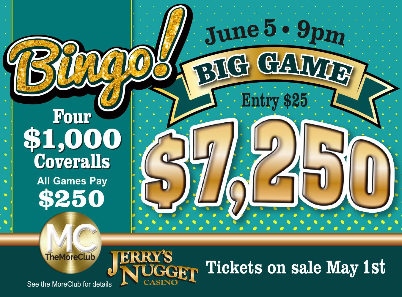 $7,250 Bingo Big Game
